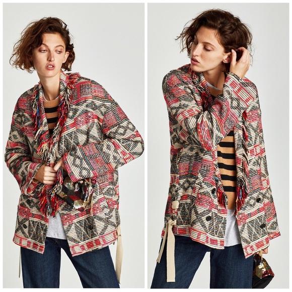 Zara Jackets & Blazers - NWT Zara Fringed Coat With Ribbons Boho Jacket